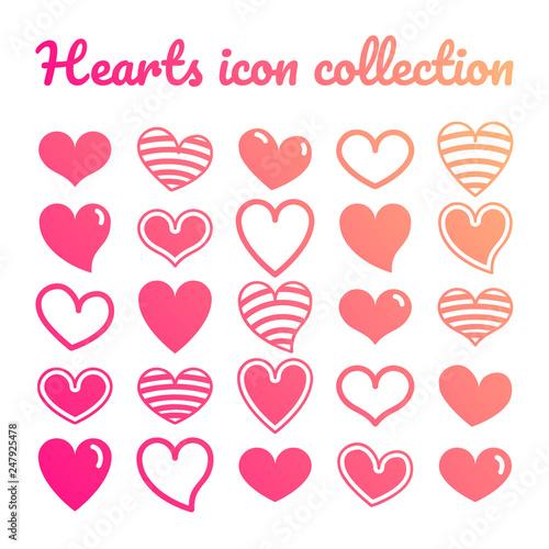 Valokuvatapetti Set icone cuore risorsa grafica collezione vettoriale decorazione colorato amore