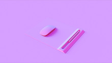 Pink Mouse An Mat And Pen 3d Illustration 3d Rendering