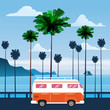 Travel, trip vector illustration. Sunset, ocean, sea, seascape. Surfing van, bus on road palm beach. Summer holidays. Palm background on road trip, retro, vintage. Tourism concept, cartoon style