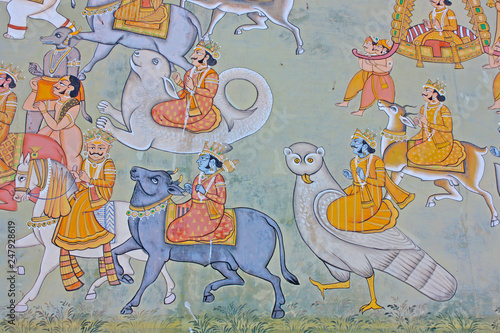 Fotomural Colorful indian mural in the fort at Jodhpur showing a royal procession, includi