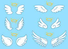 White Cute Angel Wings With Gold Nimbus