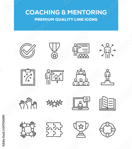 Fotografía  Coaching And Mentoring Line Icon Set Concept