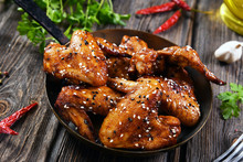 Roasted Chicken Wings In Hot P...