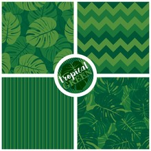 Tropical Green Graphic Exotic Seamless Pattern Set With Green Monstera Leaves On Light And Dark Green Background