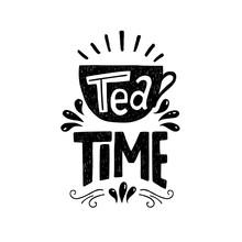 Tea Time Hand Drawn Phrase