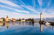 canvas print picture - Lindau am Bodensee Hafen im Winter