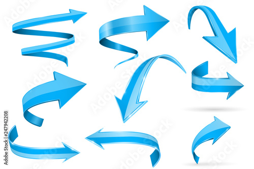 Foto  Blue 3d shiny arrows. Set of curved icons