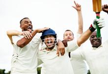 Cheerful Cricketers Celebratin...