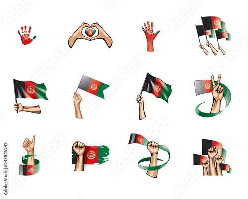 Photo Afghanistan flag and hand on white background