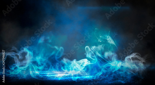 The background of an empty room with brick walls and concrete floor tiles. Neon light, spotlight, smoke
