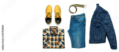 Flat lay set Men's casual clothing, jacket blue jeans checkered shirt yellow nubuck shoes strap isolated items on white background top view Tapéta, Fotótapéta