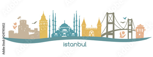 Modern flat horizontal vector illustration Istanbul with silhouette