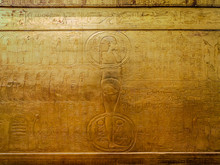 Drawings And Hieroglyphs On A Gilded Wooden Box In Which The Tutankhamun Sarcophagus Was Found. Egypt Cairo