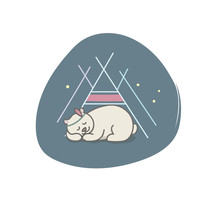 Indian Cute Bear. Vector Illus...