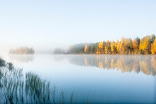 Beautiful Autumn Morning Landscape Of Kymijoki River Waters In Fog. Finland, Kymenlaakso, Kouvola.