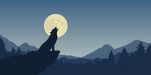 Wolf Howls At Full Moon Blue N...