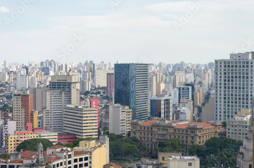 Fototapety, obrazy: Aerial view of the huge city of Sao Paulo in Brazil seen from one of the tallest buildings in downtown.