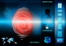 Security Data Access With Human Biometric Identification. Background With Man In Silhouette Profile With Red Fingerprint