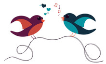 Two Cute Birds Standing On Wire And Communicate With Heart And Music Notes