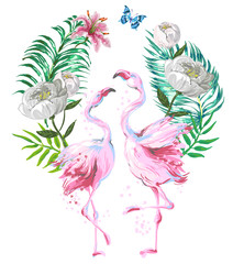 Fototapeta Malarstwo Beautiful pink flamingo composition with tropic leaves, flowers and butterfly isolated on white background.Valentine day design