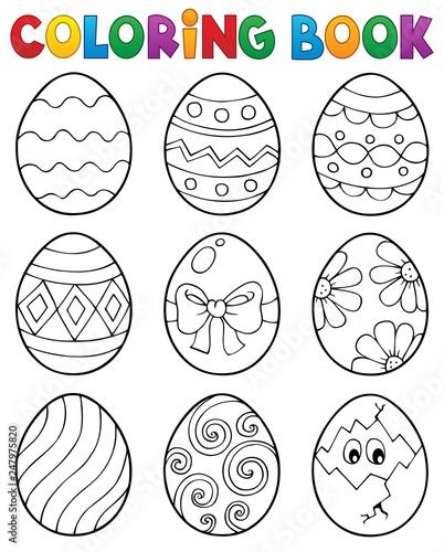 Staande foto Voor kinderen Coloring book Easter eggs theme 3