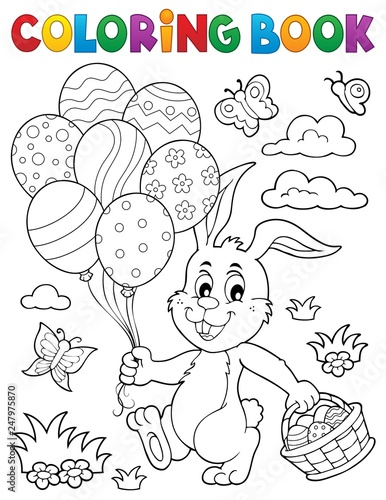 Door stickers For Kids Coloring book Easter rabbit topic 2