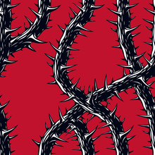 Horror Art Style Seamless Pattern, Vector Background. Blackthorn Branches With Thorns Stylish Endless Illustration. Hard Rock And Heavy Metal Subculture Music Textile Fashion Stylish Design.
