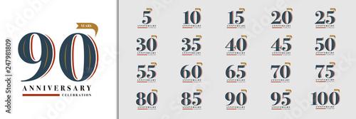 Obraz Set of anniversary logotype. Premium anniversary celebration emblem design for company profile, booklet, leaflet, magazine, brochure, invitation or greeting card. - fototapety do salonu