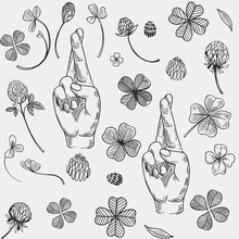Seamless Vector Pattern With Crossed Fingers And A Four-leaf Clover. Engraving Style.