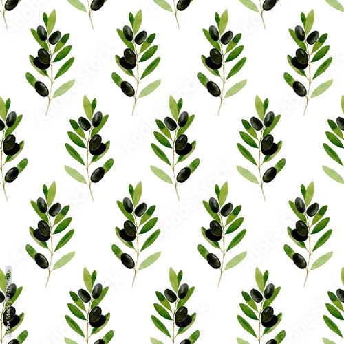 Fototapety, obrazy: Watercolor seamless pattern Black olive on white