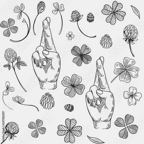 Fotografía Seamless vector pattern with crossed fingers and a four-leaf clover