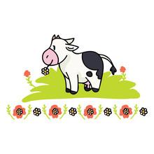 Cute Cow Daisy Cartoon Vector ...