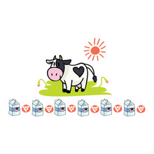 Cute Cow Dairy Cartoon Vector ...