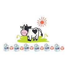 Cute Cow Dairy Cartoon Vector Illustration Motif Set