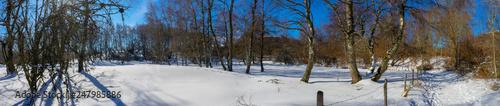 Fotografie, Tablou  Prise de vue panoramique de la campagne enneigée en Auvergne