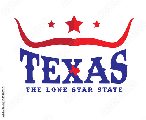 Photo  Texas Logo design concept with Star, Longhorn sign and small map, Vector EPS 10