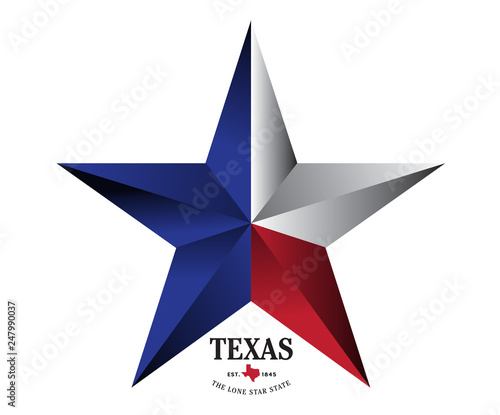 Photo  Texas star with nickname The Lone Star State, Vector EPS 10.