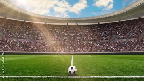 Obraz fussballstadion in der sonne - fototapety do salonu