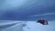 Stranded car on road after snow storm, Iceland winter.mov