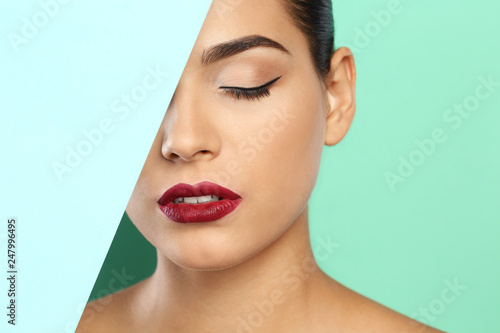 Fototapety, obrazy: Young woman wearing beautiful lipstick on color background