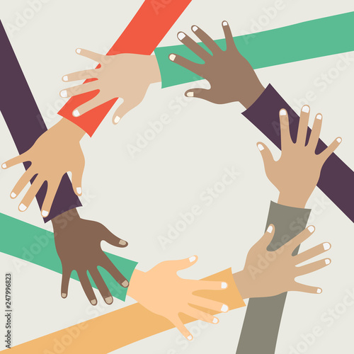 Teamwork concept  Friends with stack of hands showing unity and