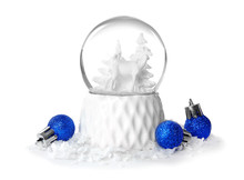 Magical Snow Globe With Christmas Balls On White Background