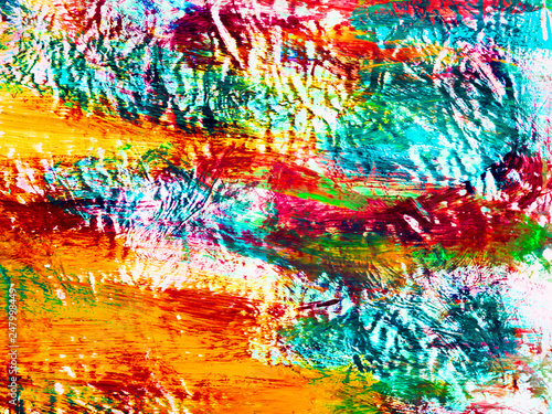 Fotografia  Neon abstract hand painted background, brush texture
