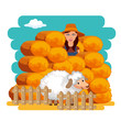 Farming and agriculture hay bales concept. Flat vector illustration
