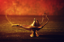 Aladdin Lamp Of Wishes On Wood...