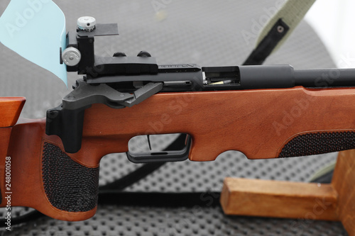Close-up of small caliber rifle - Buy this stock photo and explore