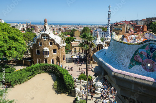 Photo Park guell colors in Barcelona, Spain.