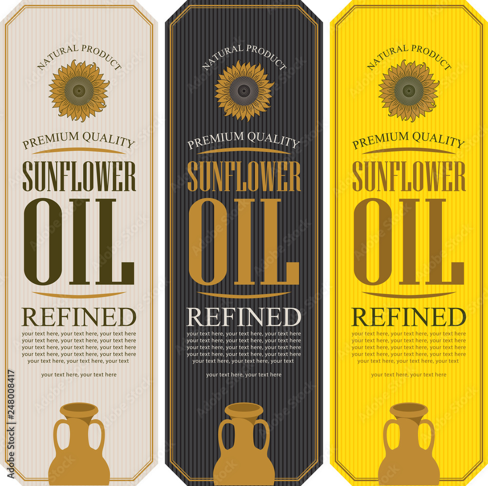 Fototapety, obrazy: Set of vector labels for refined sunflower oil with sunflower, clay jug and place for text on the striped background