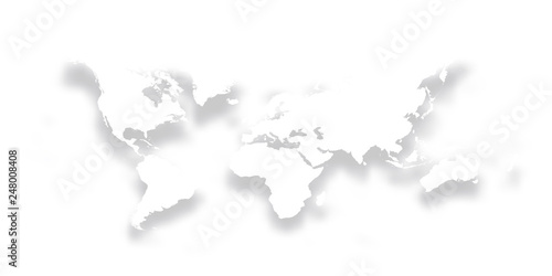 Map Of The World Simple.Map Of World Simple Bright White Silhouette With Dropped Shadow