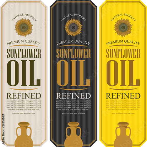 Fototapeta Set of vector labels for refined sunflower oil with sunflower, clay jug and place for text on the striped background obraz